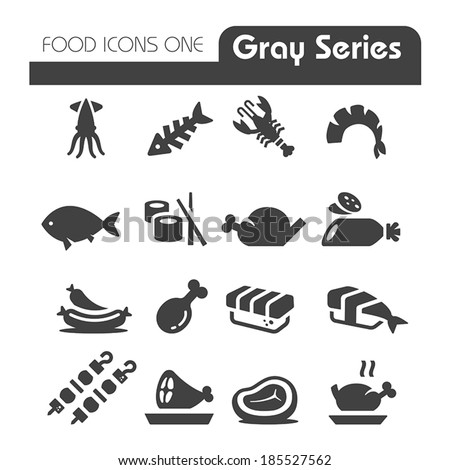 Meat Icons Gray Series - stock vector
