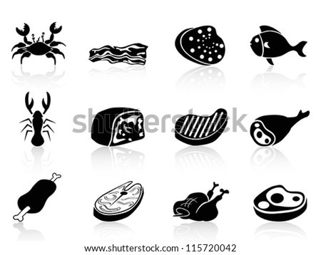 meat icons set - stock vector