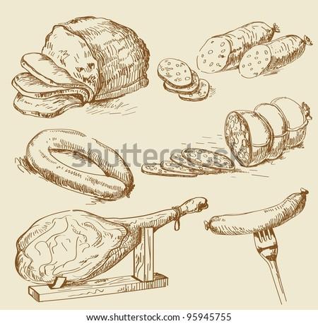 meat set - stock vector