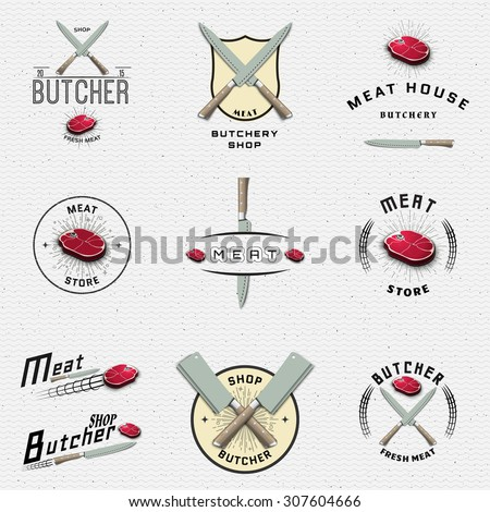 Meat store badges logos and labels for any use, for example, to design your store - stock vector