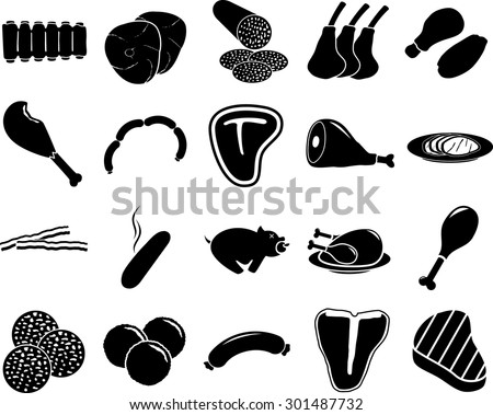meat symbols set - stock vector