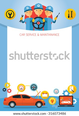 Mechanic and Car Maintenance Service Frame, Automobile Check Up, Repair - stock vector