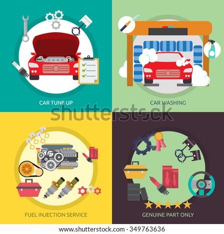 Mechanic and Car Repair - stock vector