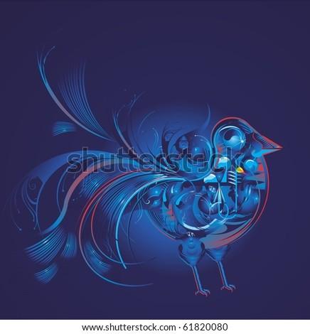 mechanic bird, abstract vector design - stock vector