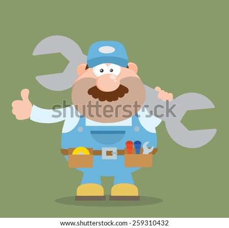 Mechanic Cartoon Character Holding Huge Wrench And Giving A Thumb Up Flat Syle. Vector Illustration - stock vector