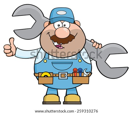 Mechanic Cartoon Character Holding Huge Wrench And Giving A Thumb Up. Vector Illustration Isolated On White - stock vector