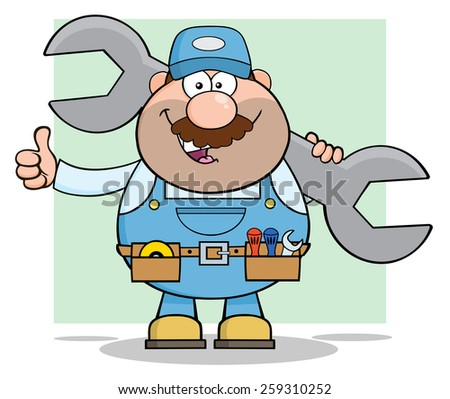 Mechanic Cartoon Character Holding Huge Wrench And Giving A Thumb Up. Vector Illustration With Background - stock vector