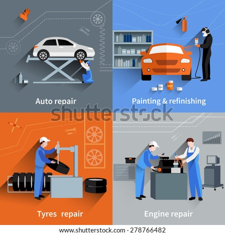 Mechanic design concept set with auto tyres and engine repair and painting flat icons isolated vector illustration - stock vector
