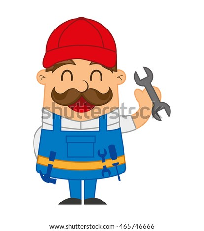 mechanic man character icon vector illustration design