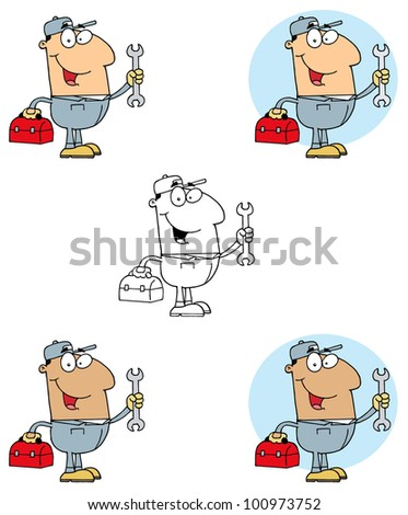 Mechanic Man With Tool Box. Vector Collection - stock vector