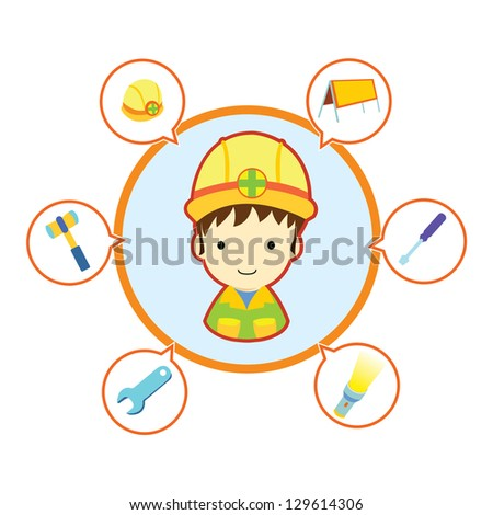 Mechanic repairman with job tool icons , Cartoon vector illustration - stock vector