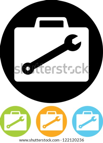 Mechanic's or repairman's equipment case with tools - Vector icon isolated - stock vector