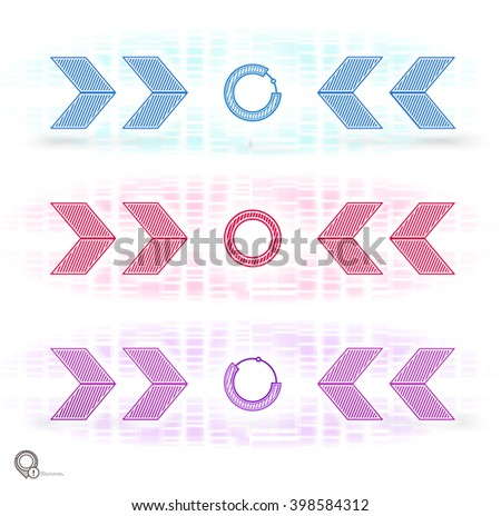 Mechanic Style Colorful Lines Graphics Arrows Vector Illustration - stock vector