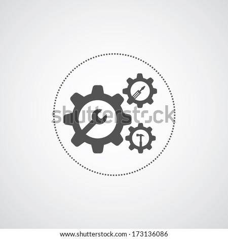 mechanic symbol on gray background   - stock vector