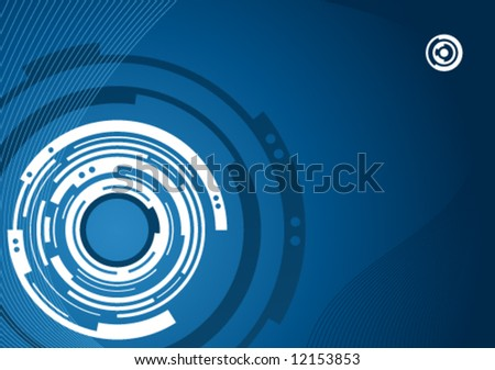Mechanical abstract background design in blue and white - stock vector