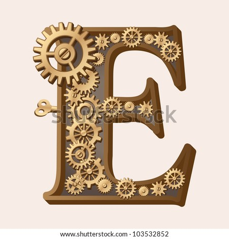 Mechanical alphabet made from gears. Letter e