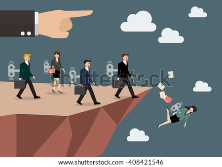 Mechanical business men and women walk straight into the abyss. Business concept - stock vector