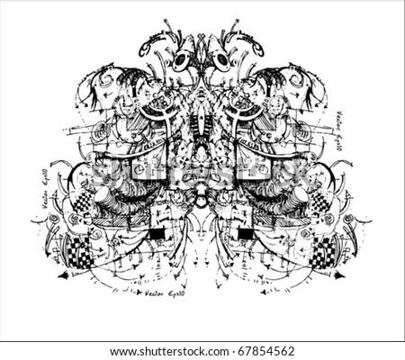 mechanical butterfly - stock vector