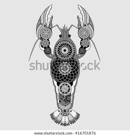 Mechanical cancer with gear wheels. Vector illustration in steampunk style. It can be used for t-shirt print. - stock vector