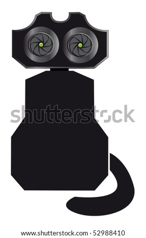 Mechanical cat  vector illustration isolated on white - stock vector