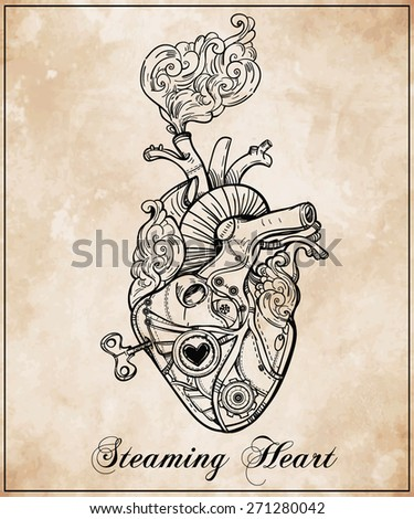 Mechanical clockwork metal steaming human heart, steam punk style. Hand drawn line art. Vintage Victorian. Beautiful tattoo template. Isolated vector illustration, design element. Grunge aged paper.  - stock vector