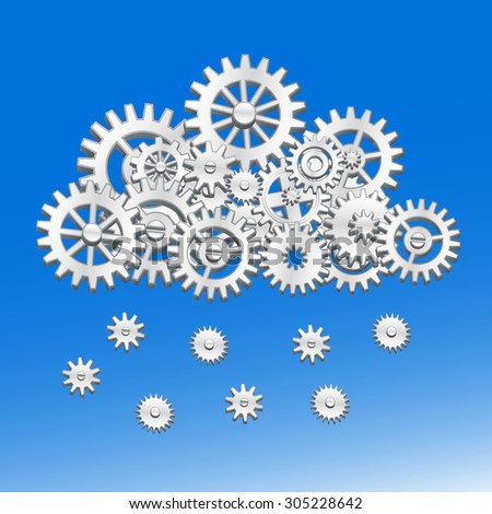 Mechanical cloud made from gears with snowflakes or raindrops - stock vector