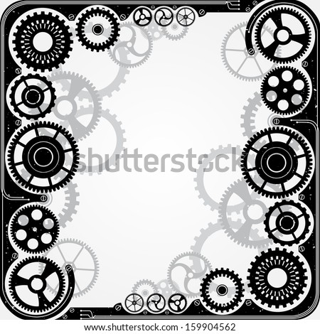 Mechanical cog wheel frame. Abstract vector illustration. - stock vector
