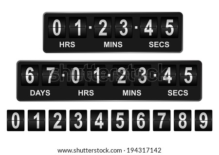 Mechanical countdown timer. Days, hours, minutes, seconds  - stock vector