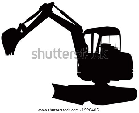 Mechanical digger silhouette - stock vector