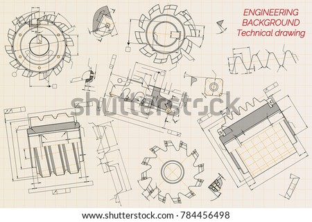 Mechanical engineering drawings on beige technical stock vector hd mechanical engineering drawings on beige technical paper background cutting tools milling cutter industrial malvernweather Image collections