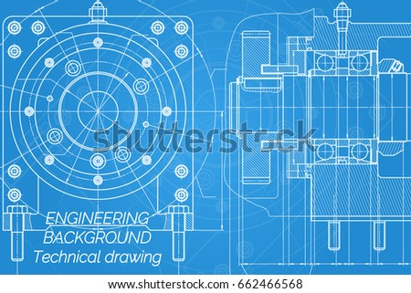 Mechanical engineering drawings on blue background stock vector mechanical engineering drawings on blue background milling machine spindle technical design cover malvernweather Gallery