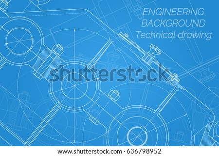Mechanical engineering drawings on blue background vector de mechanical engineering drawings on blue background reducer technical design cover blueprint malvernweather Image collections