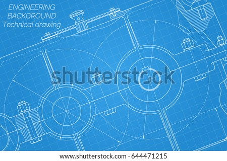 Mechanical engineering drawings on blue background vectores en stock mechanical engineering drawings on blue background reducer technical design cover blueprint malvernweather Image collections