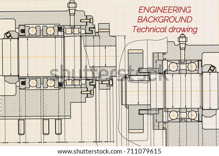 Mechanical Engineering Drawings On Light Background Stock Vector ...