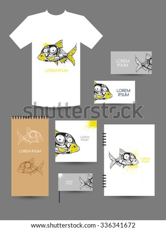 Mechanical fish. T-shirt design, design of booklet, notebook, business cards. - stock vector