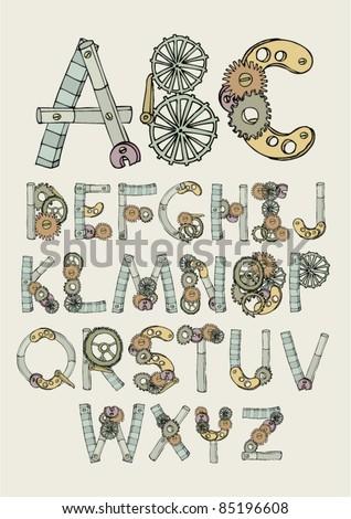 mechanical font illustration/vector - stock vector