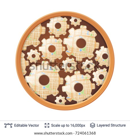Mechanical Gears Round Frame Circle Window Stock Vector 724061368 ...