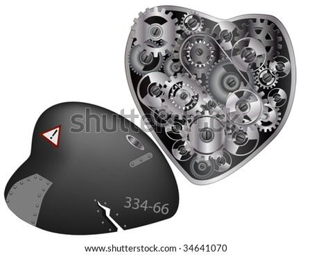 mechanical heart and gears