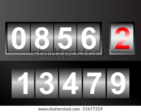 mechanical numbers - stock vector