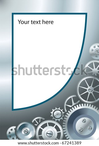 Mechanical or technological background with different gears, clockwork mechanism, copy-space vector illustration - stock vector