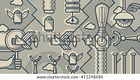Mechanical reality - shoot and catch. Monochrome pop art style background - stock vector