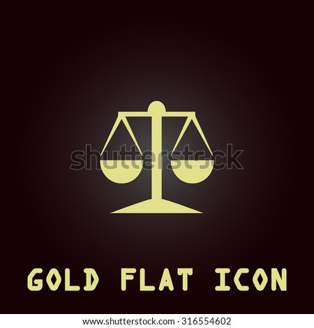 Mechanical scales. Gold flat vector icon. Symbol for web and mobile applications for use as logo, pictogram, infographic element - stock vector