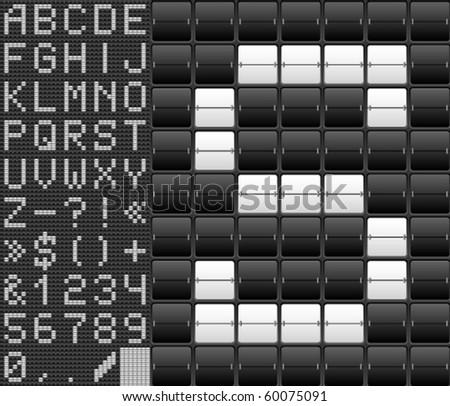 Mechanical Scoreboard alphabet - stock vector