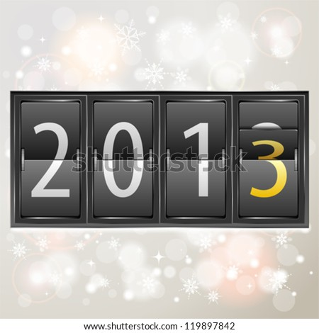 Mechanical Timetable with New Year 2013 on Bright Background, vector illustration - stock vector
