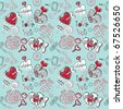 mechanical Valentine's hearts. seamless pattern - stock vector