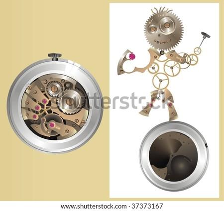 mechanical watch-men - stock vector
