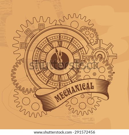 mechanical watches belted tape and decorated with metal parts in the style of steam punk - stock vector