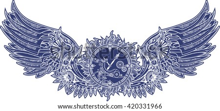 Mechanical wings in steampunk style with clockwork. Blue and white color. - stock vector