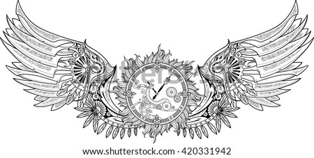 Mechanical wings made in steampunk style with clockwork. Black and white. - stock vector