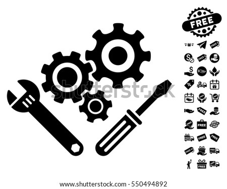 Mechanics Tools icon with free bonus pictograms. Vector illustration style is flat iconic symbols, black color, white background.